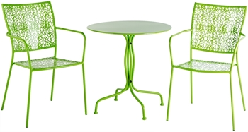 """Alfresco Martini 3 Piece Bistro Set In Key Lime Finish With 27.5"""" Round Bistro Table And 2 Stackable Bistro Chairs"""