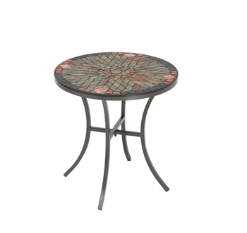"""Alfresco Sagrada 20"""" Round Ceramic Mosaic Outdoor Side Table with Tile Top and Base"""